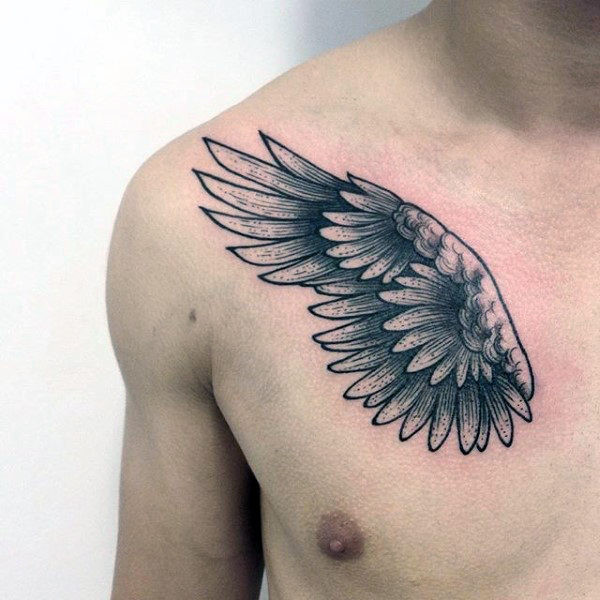 Awesome Guys Wing Tattoo auf der Brust