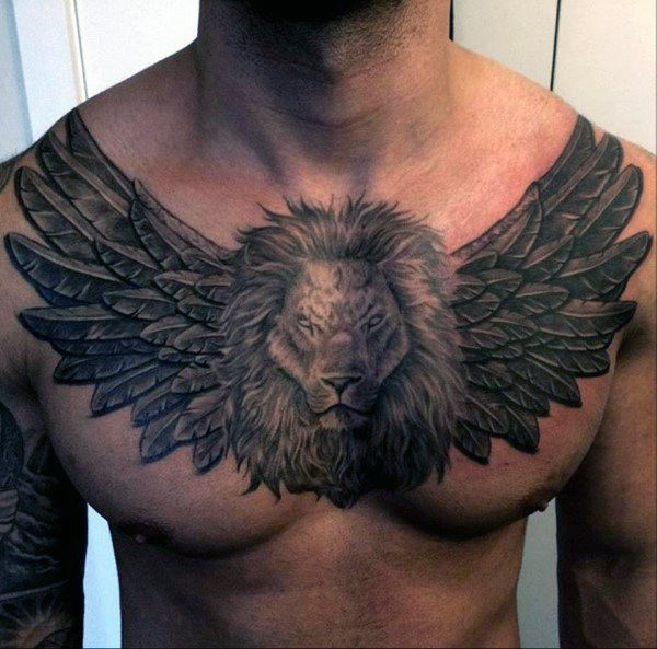 Jungs Brust Wing Lion Tattoo Designs