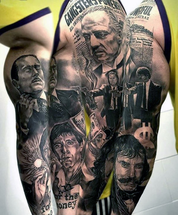 Mens Gangster Themed Full Sleeve Tattoo