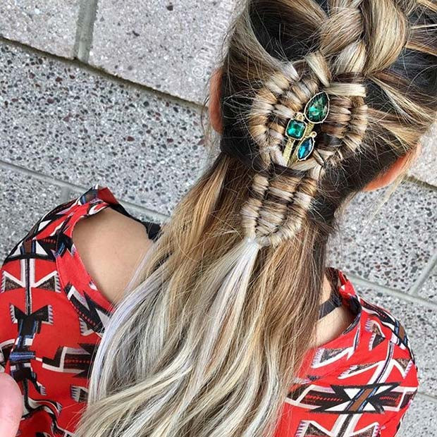 Accessorized Half Up, Half Down Braid