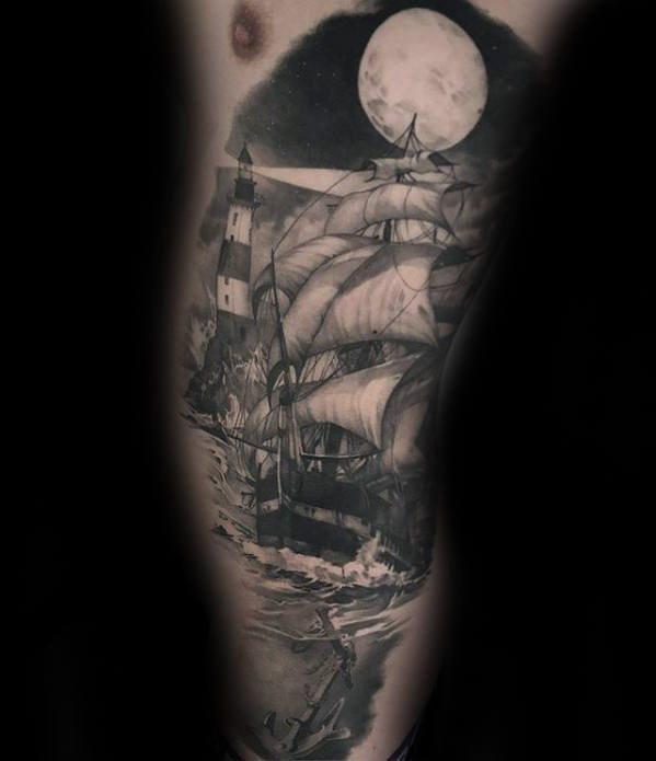 Segelschiff unter Moonlight Guys Hyper Realistic Rib Cage Side Tattoo