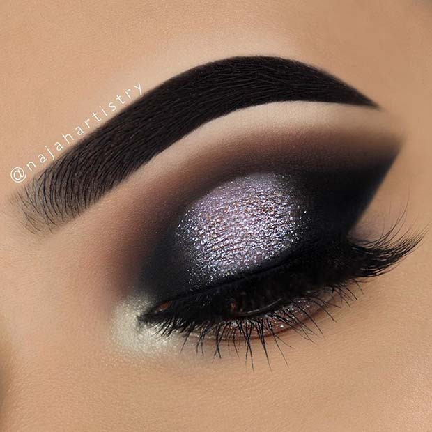 Sparkly Black Smokey Eye