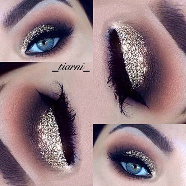 NYE Gold Glitter Augen Make-up
