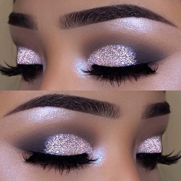 Rosa Glitzer-Make-up-Idee