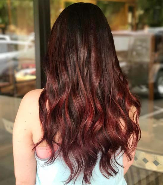 Dunkle Ombre Haarfarbe Idee
