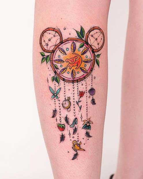 Süßes, Disney inspiriertes Dream Catcher Tattoo