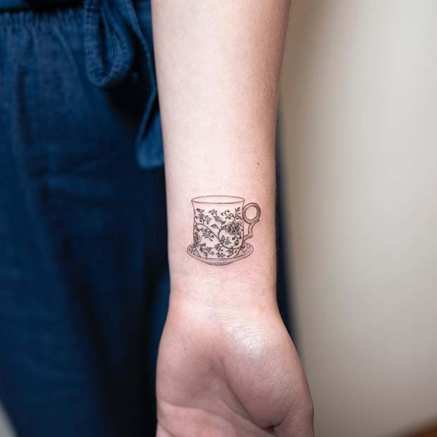 Süße Teetasse Tattoo Idee