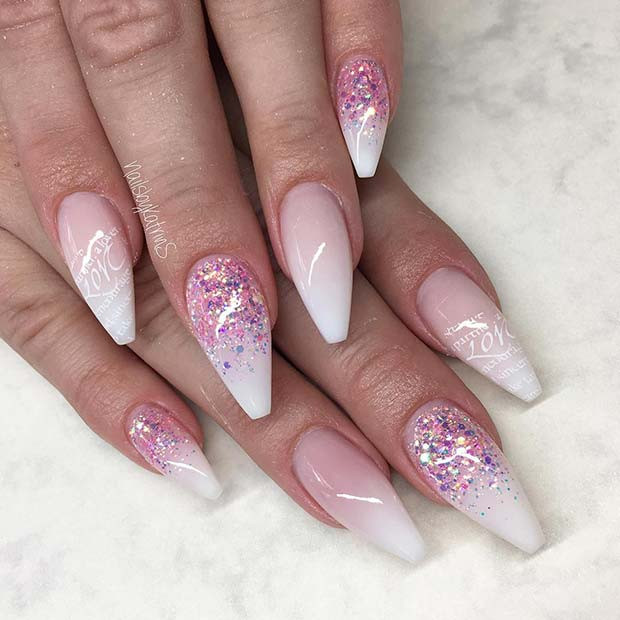 Pink Glitter und French Ombre Nails