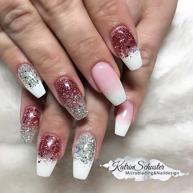 Glitter und French Ombre Nails