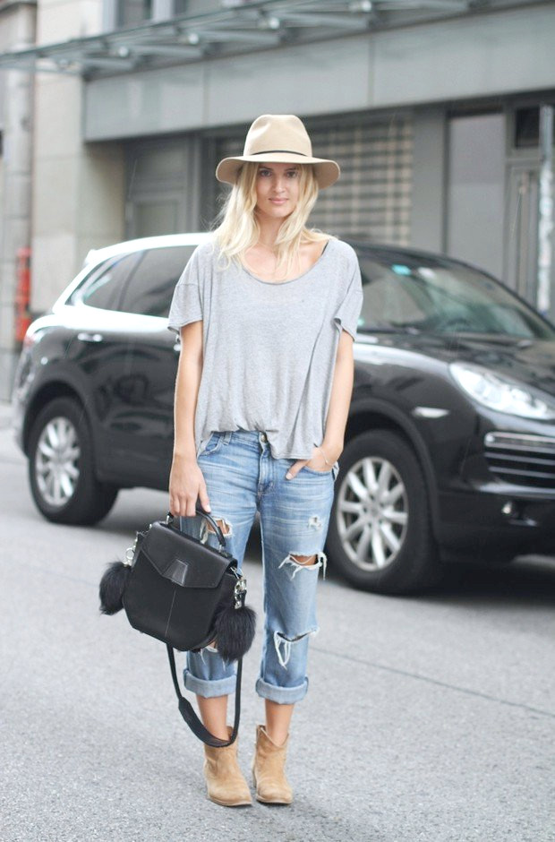Idea de atuendo casual y chic con jeans rotos