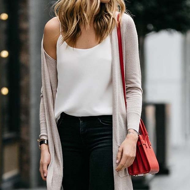 Cardigan und Jeans Outfit Idee