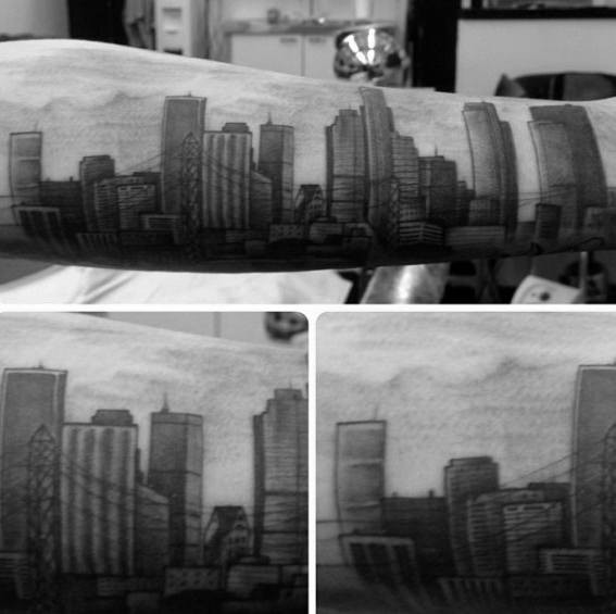 Outer Unterarm Jungs Los Angeles Skyline Tattoos