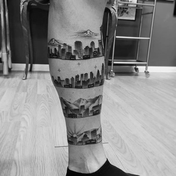 Beinband Jungs Los Angeles Skyline Tattoo Designs