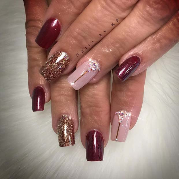 Sparkly Fall Nails für Herbst Nail Design-Ideen