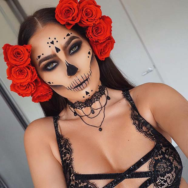 Zuckerschädel-Make-up für Halloween