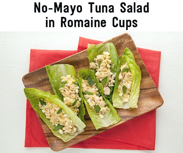Thunfischsalat ohne Mayo in Romaine Cups