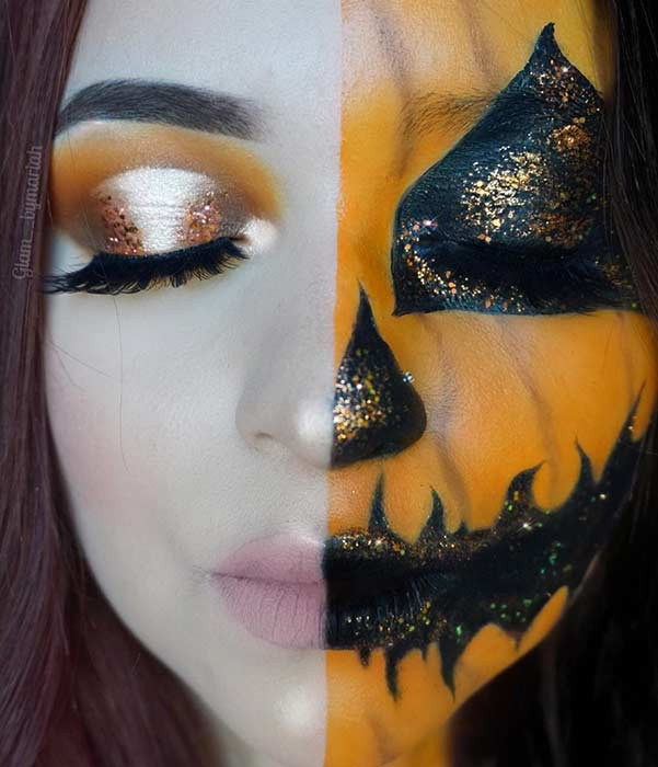 Hübsches Jack-O-Laterne Halloween Make-up