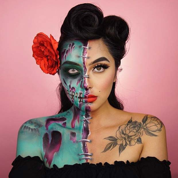 Pin Up Zombie Halloween Makeup