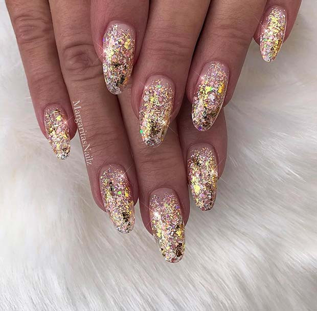 Glam, Gold-Glitter-Gel-Nägel