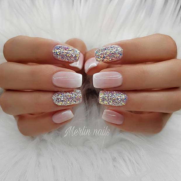 French Ombre und Glitter Gel Nails