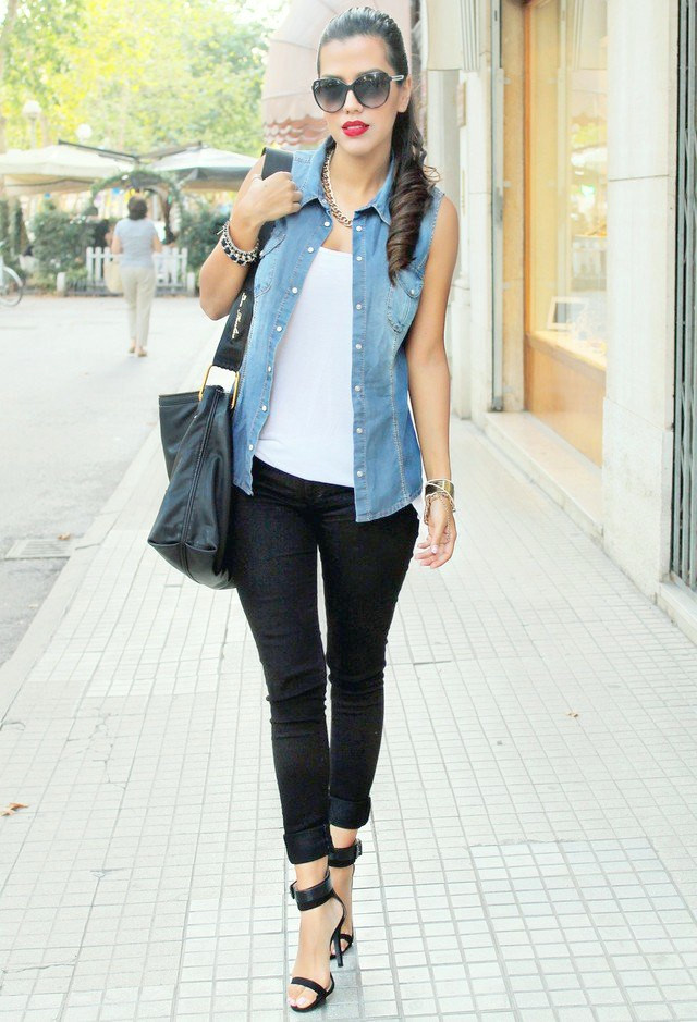 Idea de traje simple con chaleco denim
