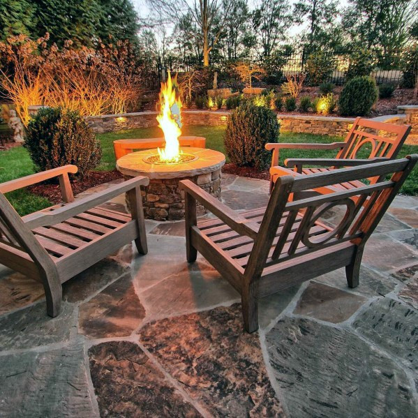 Feuer Pit Home Flagstone Patio Ideen