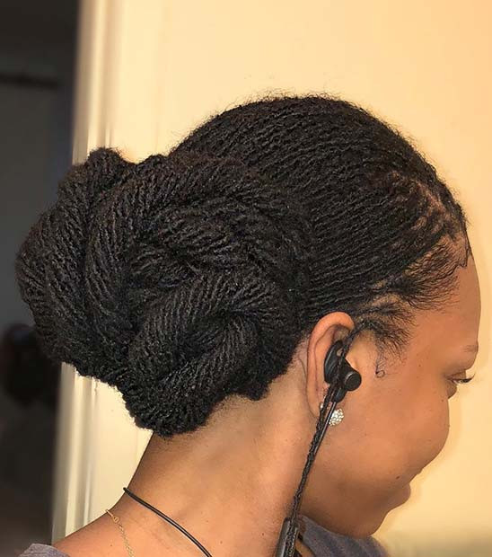 Twisted Sisterlocks Low Updo
