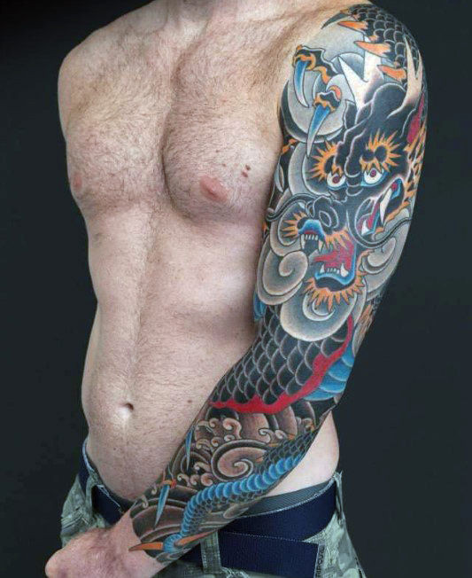 Dangerous Dragon Tattoo Male Sleeves