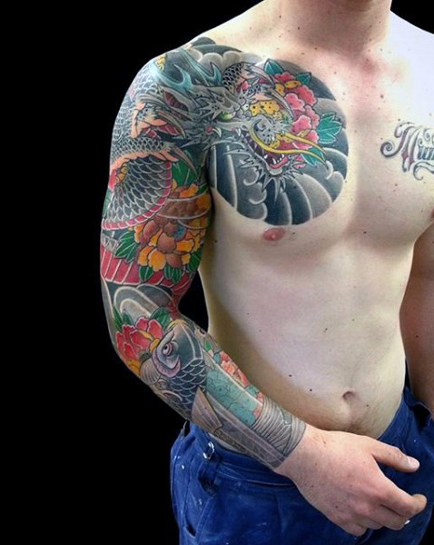 Sagenhafte Dragon Tattoo Male Sleeves