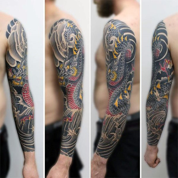 Herrliche Dragon Tattoo Male Full Sleeves