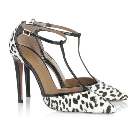 Aquazzura Tango Animal-Print Kalbshaar-T-Bar-Pumpe