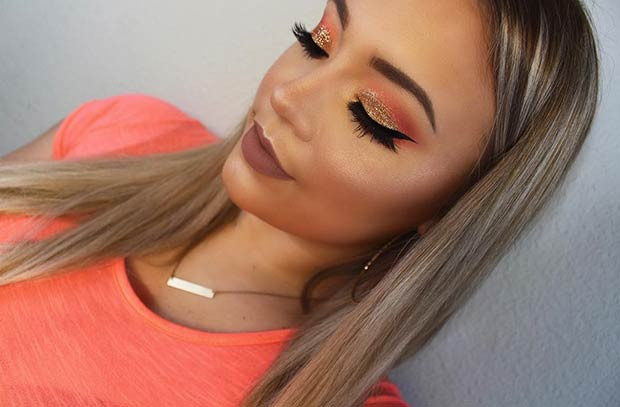 Orange und Gold Glitter Eye Makeup Look