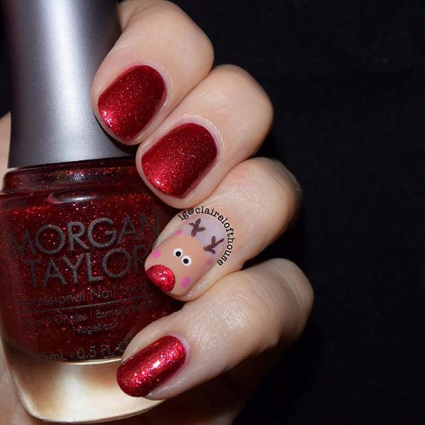 Rudolph Accent Nail Design