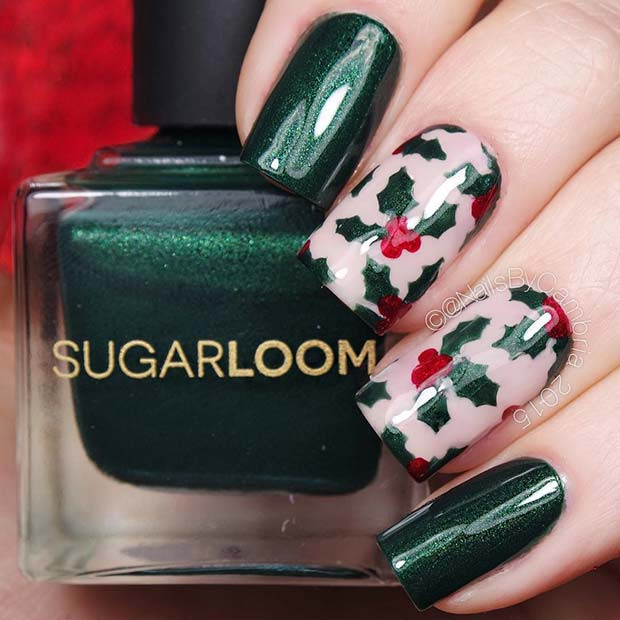 Weihnachten Holly Nails
