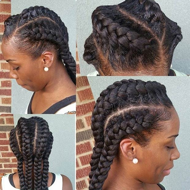 Geflochten in die Back Goddess Braids