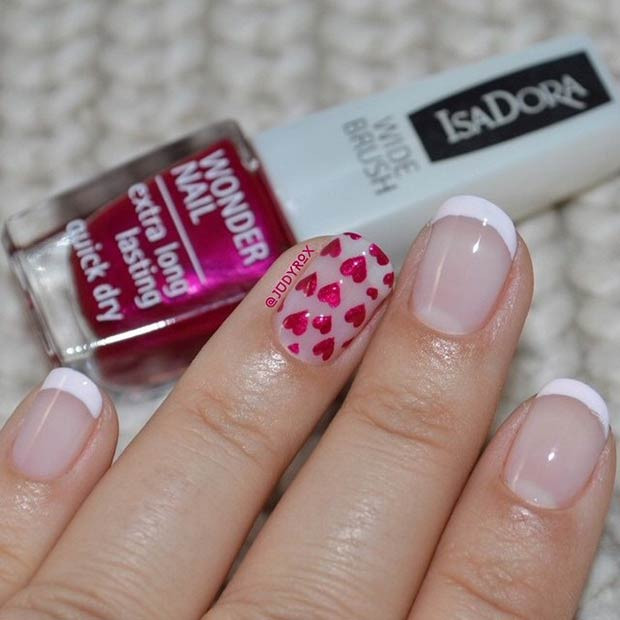 French Tip and Hearts Nail Design zum Valentinstag