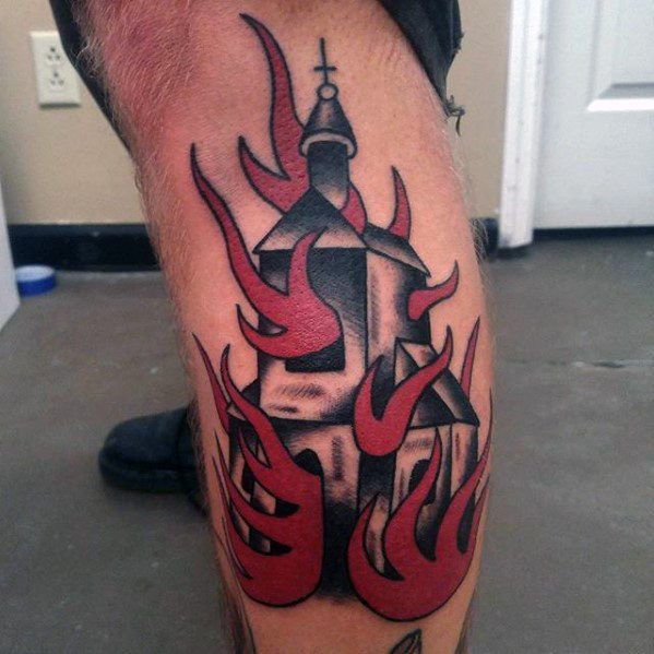 Manly Burning Church Tattoo Design-Ideen für Männer