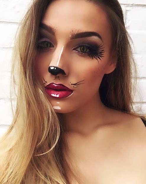 Hübsche tierische Halloween Make-up Idee