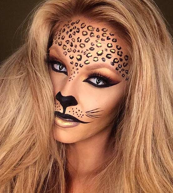 Schwarzes und Gold DIY Gepard Halloween Make-up