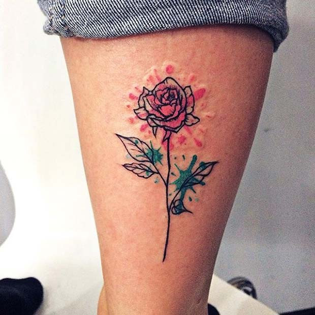 Einzelne Aquarell Rose Creative Tattoo Idea