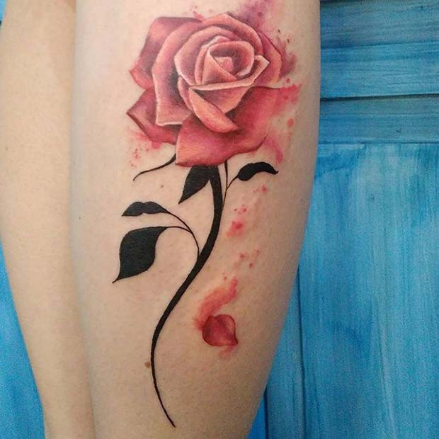 Rosa Blütenblatt Rose mit Dark Stem Tattoo Design Idee