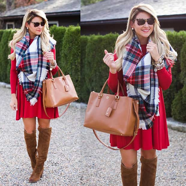 Rotes Kleid Flanell Schal Weihnachtsoutfit