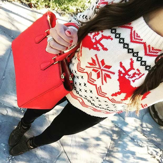 Nettes Weihnachtspullover-Outfit