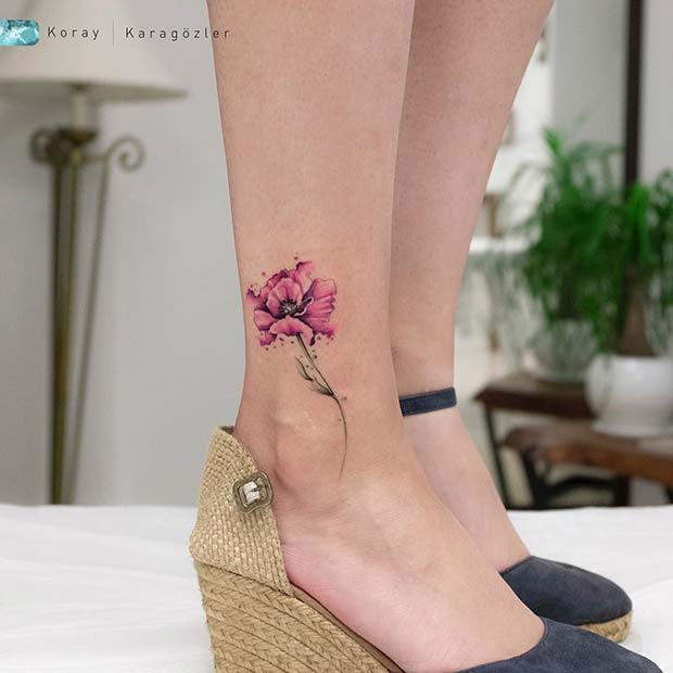 Aquarell Blume Tattoo Idee