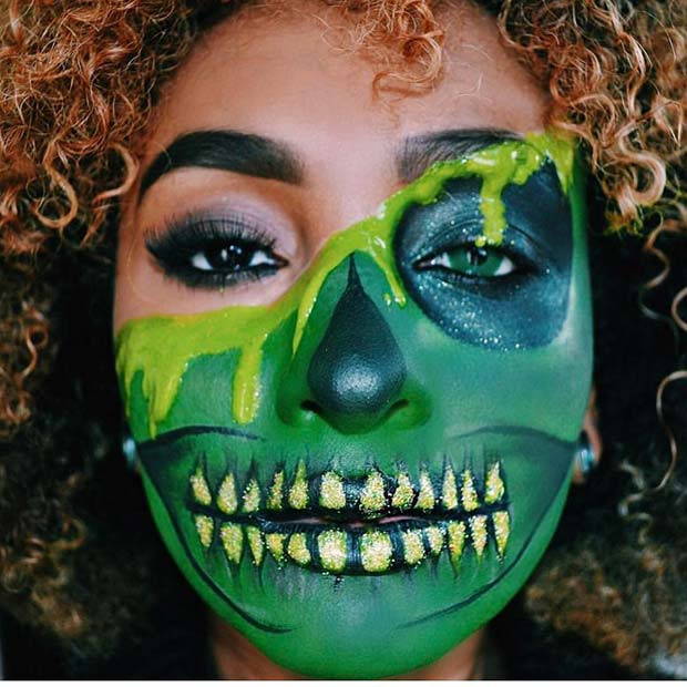Funky Green Skeleton für Skeleton Makeup-Ideen für Halloween