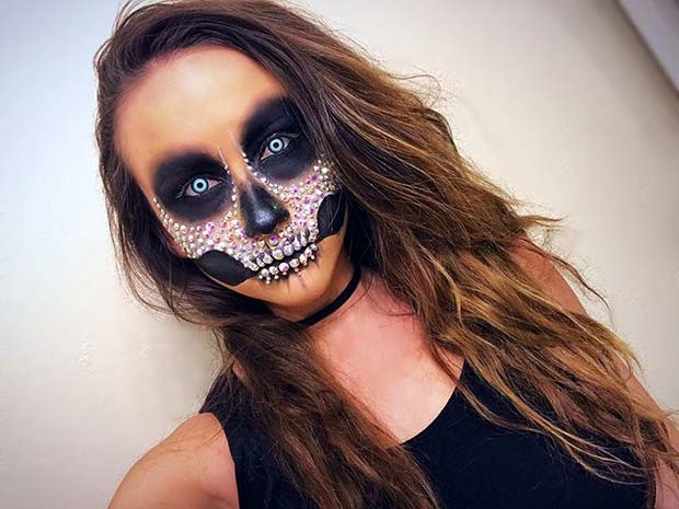 Sparkling Skeleton Makeup für Skeleton Makeup-Ideen für Halloween
