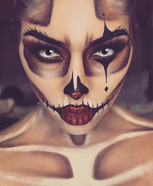 Skeleton Clown Makeup für Skeleton Makeup-Ideen für Halloween