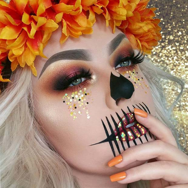 Herbst inspiriert Skelett Make-up für Skelett Make-up-Ideen für Halloween