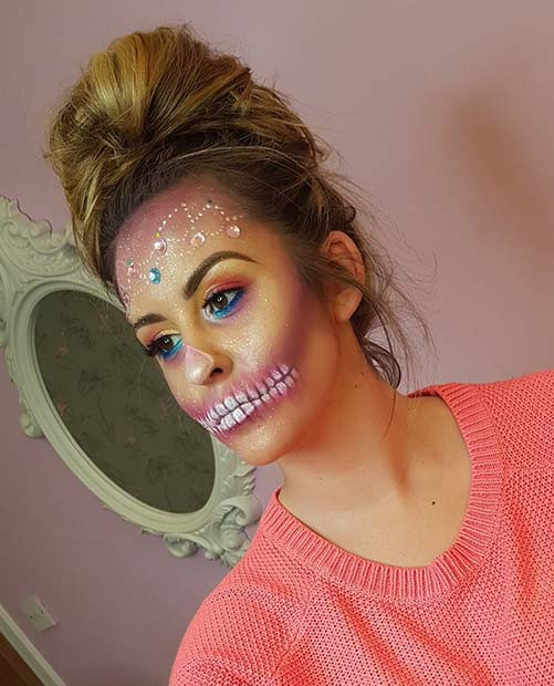 Niedliches Skelett-Make-up für Skelett-Make-up-Ideen für Halloween