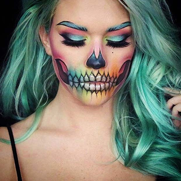 Regenbogen-Skelett für Skelett-Make-up-Ideen für Halloween